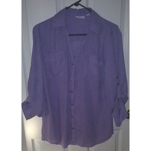 New York & company blouse lilac white polka dots